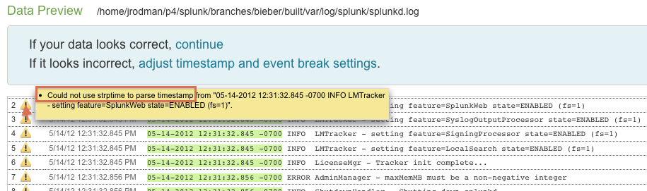 Data Preview displaying strptime failure tooltip